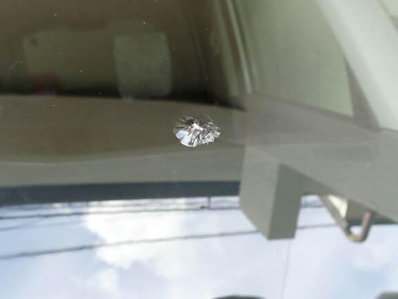 京都市西京区 三菱 D2 フロントガラス 飛び石のひび割れをガラスリペア