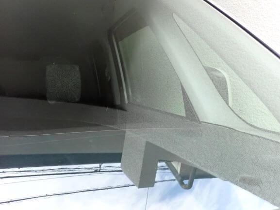 京都市西京区 三菱 D2 フロントガラス 飛び石のヒビをガラスリペア修理後